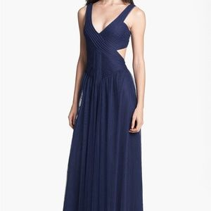 BCBGMaxAzria Blue Open Back Tulle Dress Maxi Gown